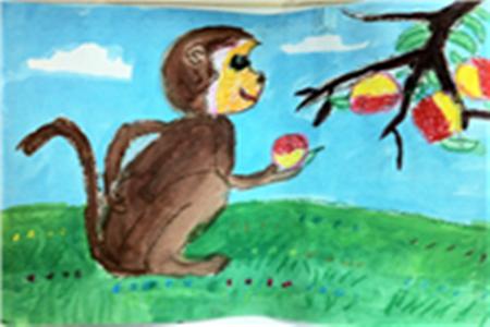大班美术水墨画优秀教案《小猴吃桃》--幼儿园教案网
